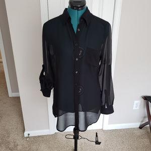 Women's see through black button down blouse